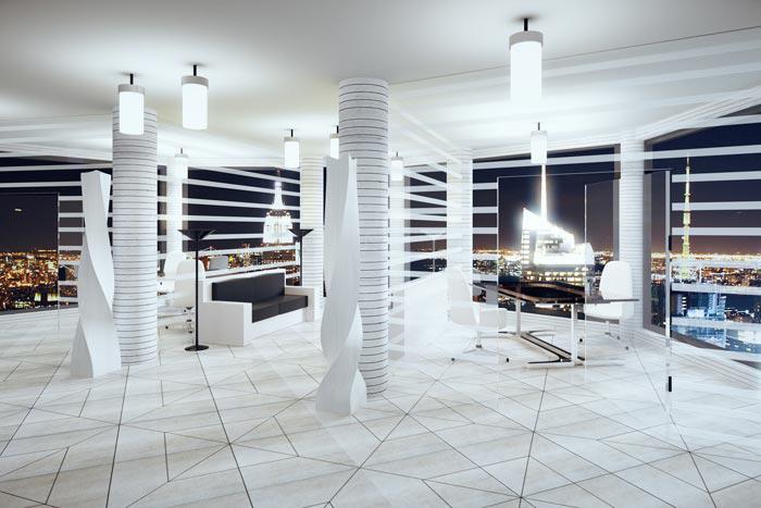 In Büro und Wohnräumen durch Licht Akzente setzen