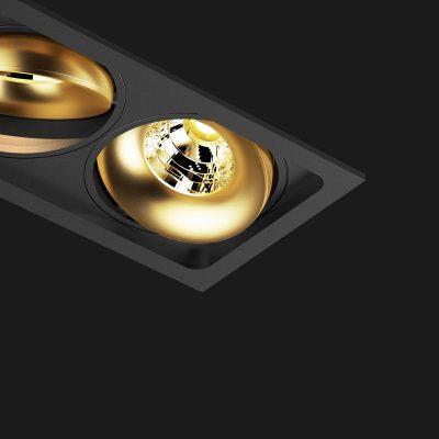Kippbare Mehrfach Einbauleuchte in schwarz und goldfarben