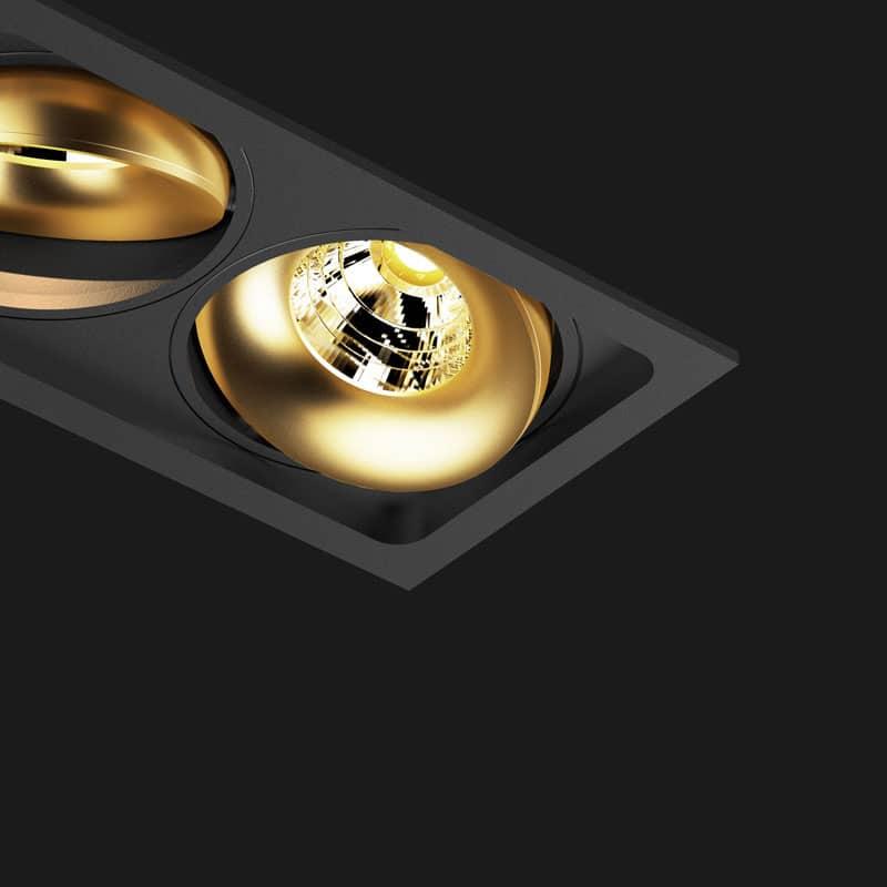 Kippbare Einbauleuchte, mehrfach mit Schwarz und Gold – Lichtraum